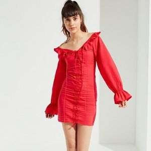 Lioness Foxy Lace-Up Ruffle Dress